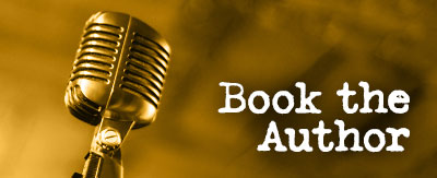 Book the Author graphic with microphone image